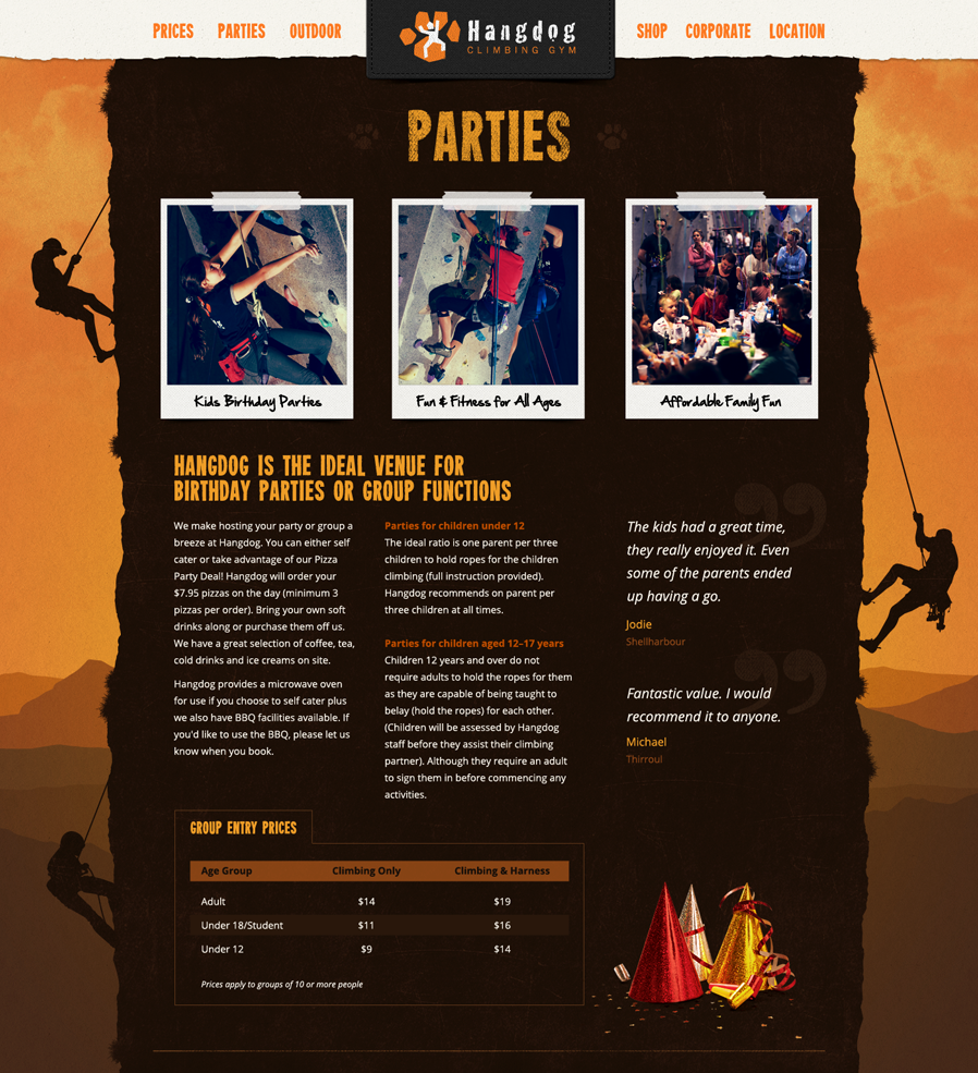 The Hangdog website Parties section showing pricing and conditions for using Hangdog as a party venue.