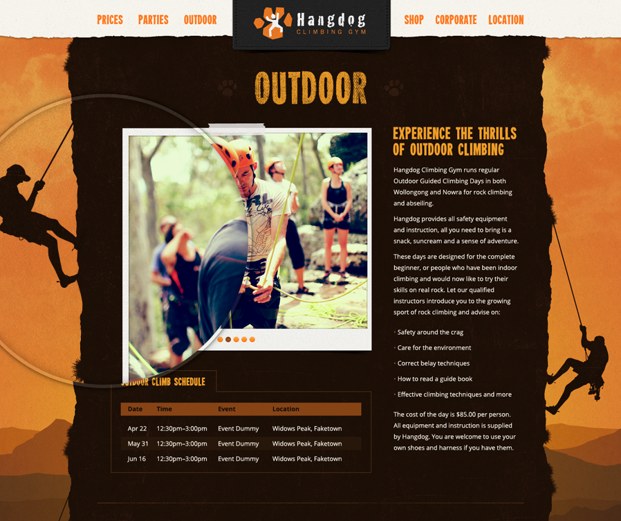 The Outdoor section of the Hangdog website lists upcoming outdoor climbing events