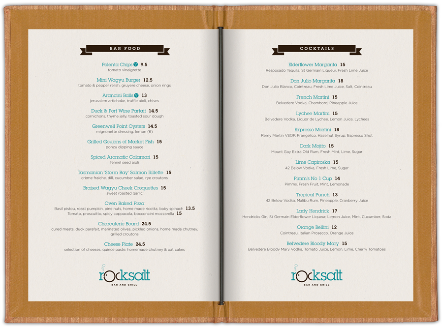 Rocksalt bar grill studio iq for Food bar menu