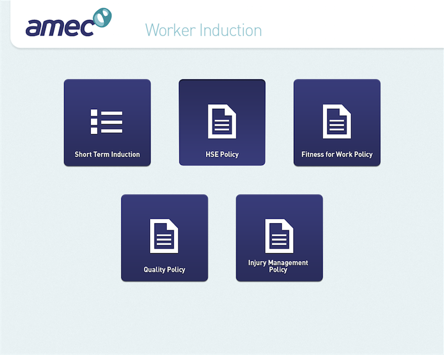Choose to do an induction or view a safety document
