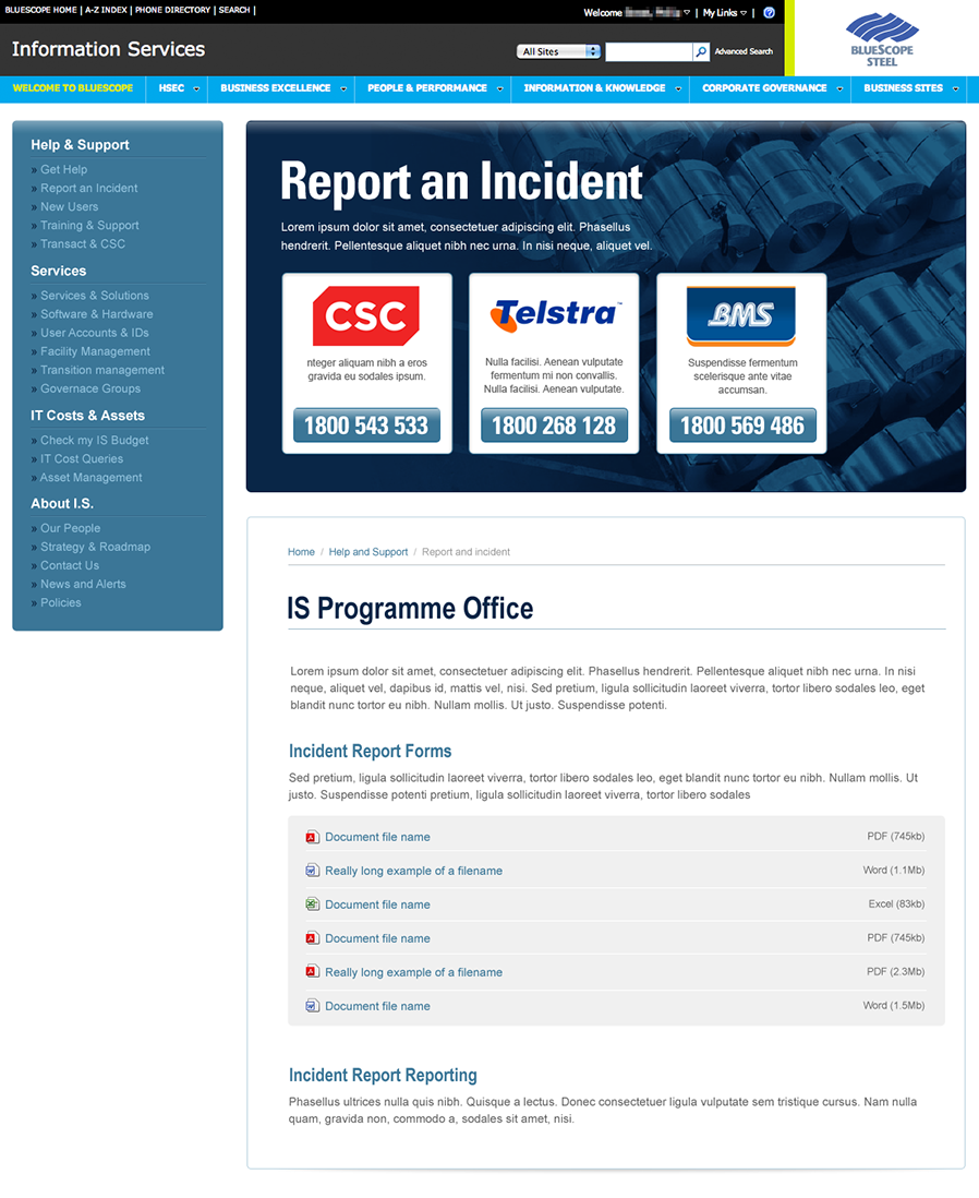 The redesigned support homepage, refocusing attention on how to report incidents