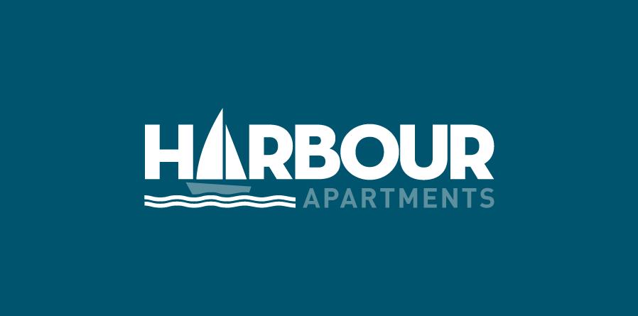 "The Harbour Apartments logo, showing the ""A"" in ""Harbour"" replaced with a sailboat."