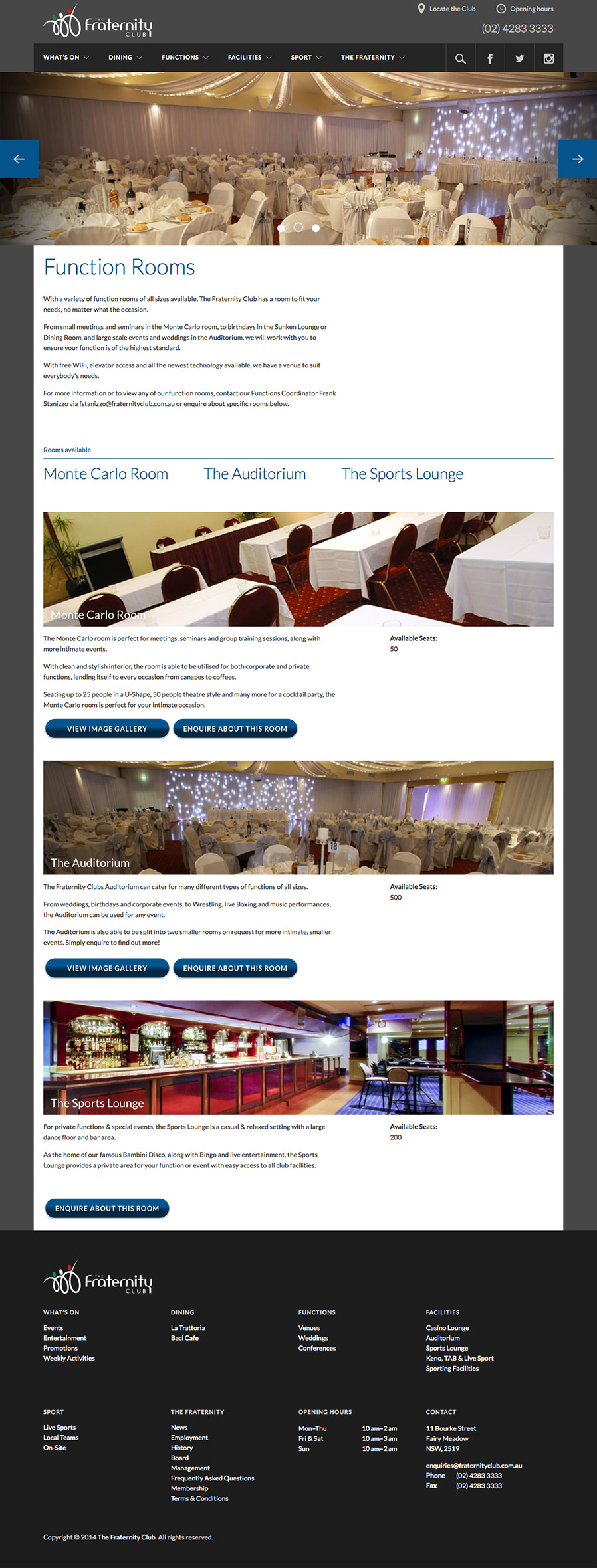 The Fraternity Club function rooms page