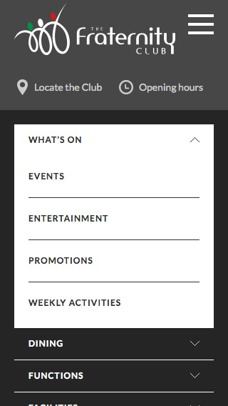 The mobile navigation showing section items