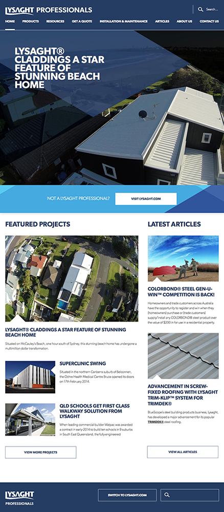 Lysaght Professionals homepage
