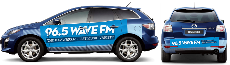 96.5 Wave FM logo on side and rear of a car