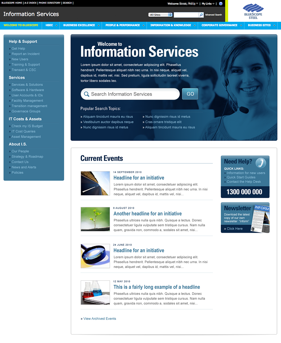 The redesigned Information Services intranet home page