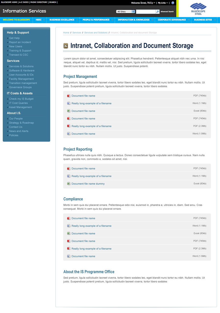 The redesigned document listing page