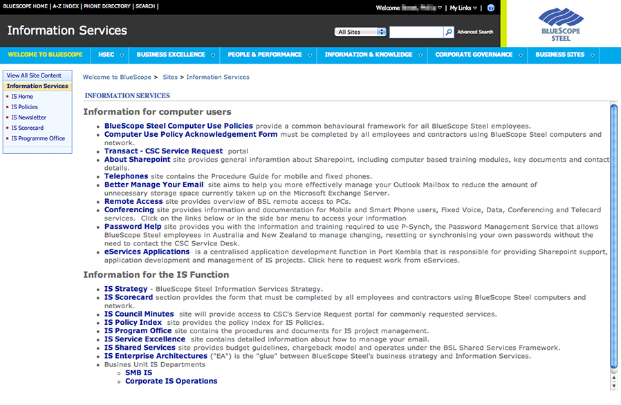 **Before:** The Information Services intranet home page before we began. It suffered from a lack of visual hierarchy, inappropriate information architecture and relied heavily on the built-in SharePoint theme.
