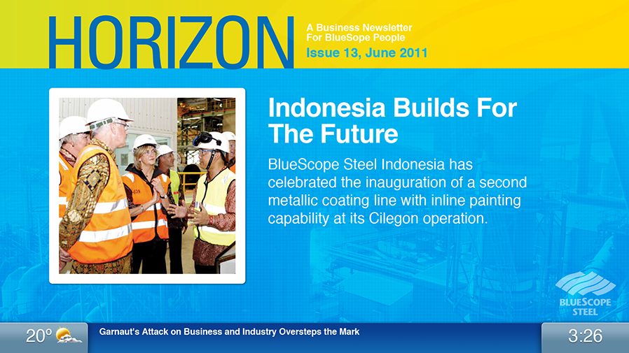Horizon is BlueScope's periodic employee newsletter, and these are its colours.