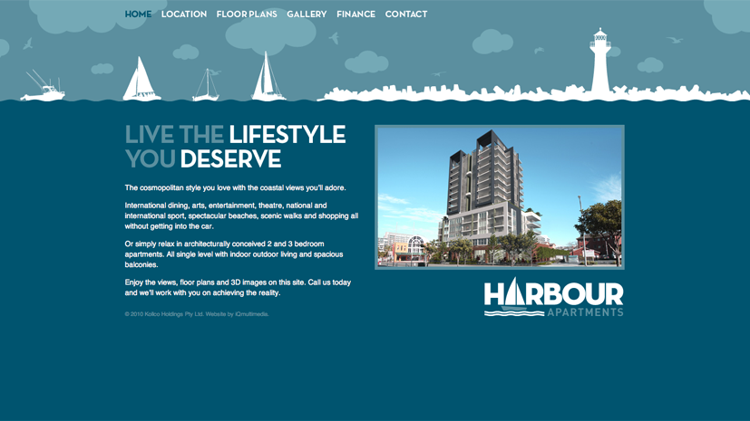 The Harbour Apartments website homepage