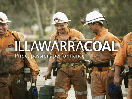 A still image from the Illawarra Coal induction video showing miners with Illawarra Coal logo superimposed