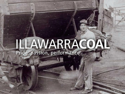A still image from the Illawarra Coal induction video showing an old photo of miners with Illawarra Coal logo superimposed