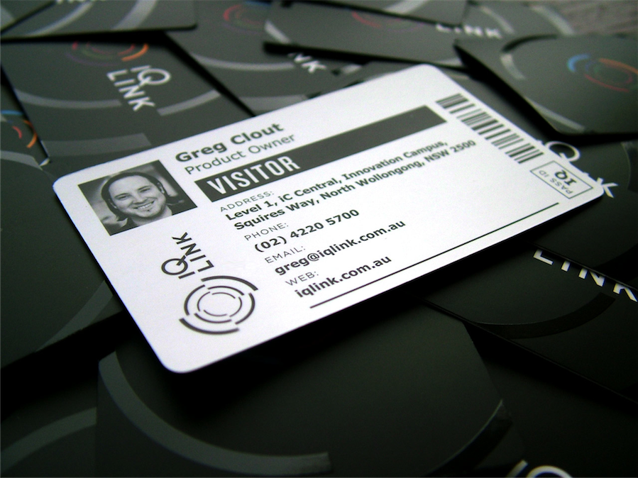 IQ LINK business card, modelled closely on the visitor labels IQ LINK prints