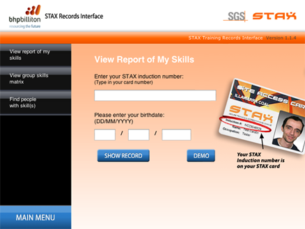 The STAX module connects to SGS SafeStax and gives users access to their training records.