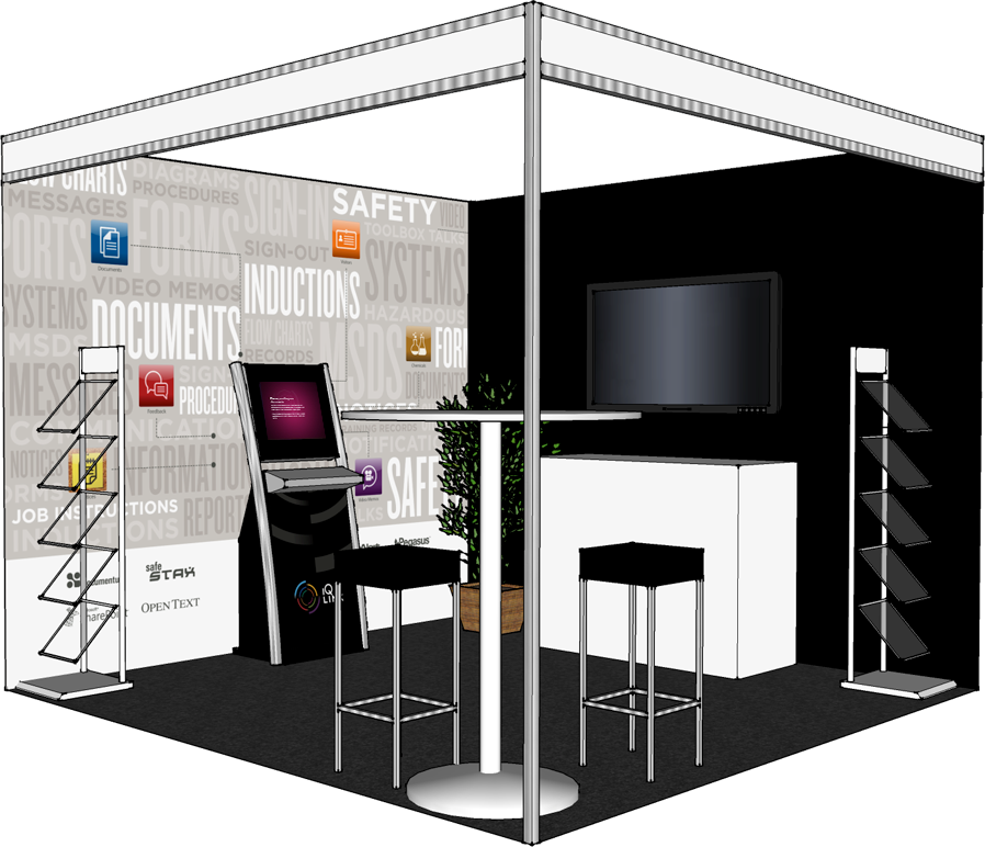 A 3D mockup of the booth we produced to help with layout. We ended up flipping the booth 90 degrees after a change in the trade show floor plan.