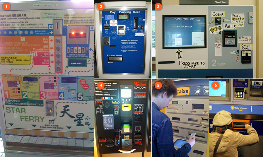 Examples of usability issues with ticket machines and ATMs around the world