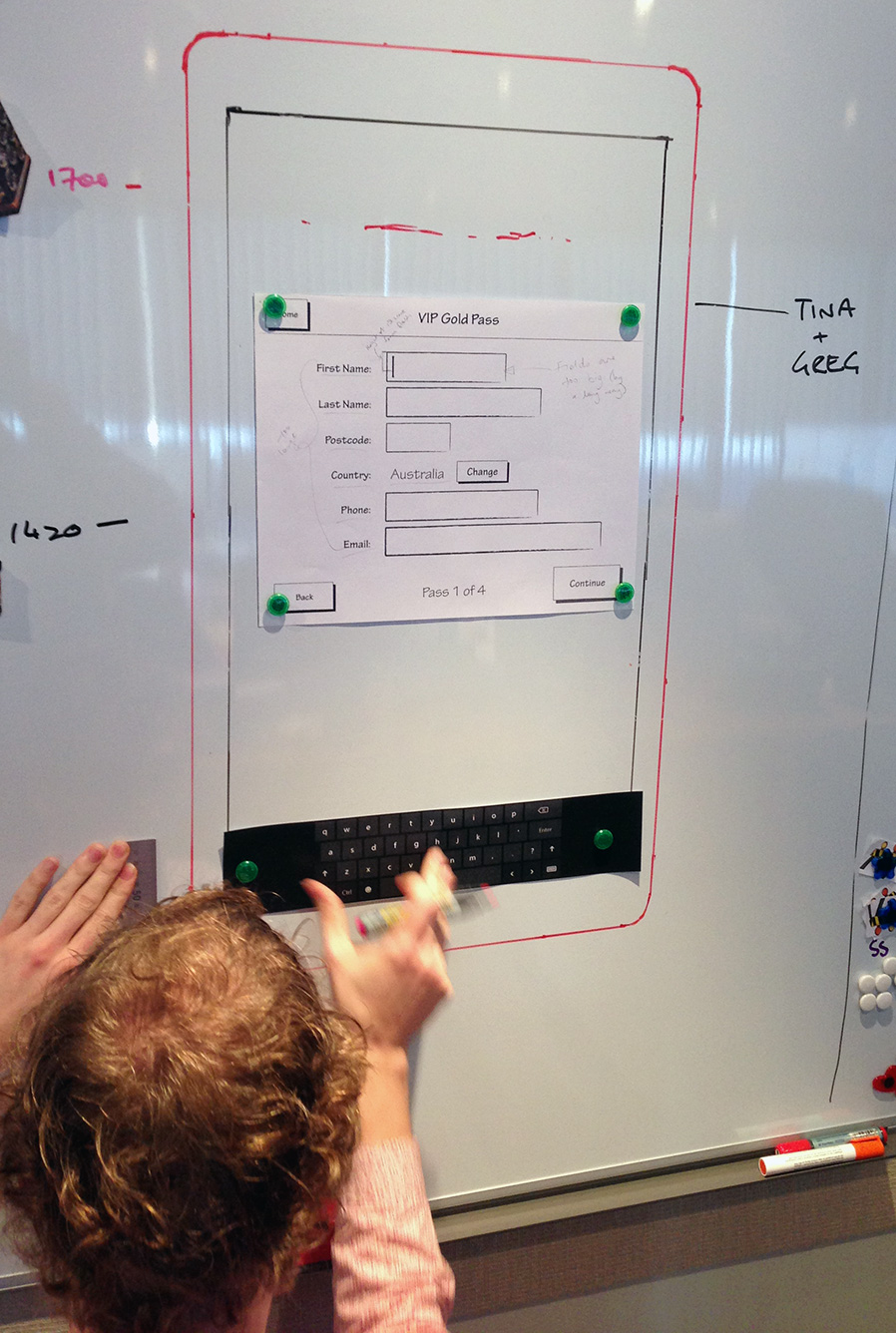 It's a heck of a lot cheaper to test things like the height of a display on a whiteboard than it is in metal! By testing the interface in different configurations and on different users, we were able to establish the height of the screen
