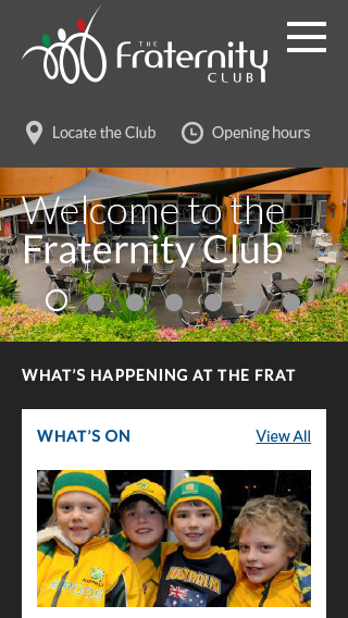The Fraternity Club homepage (as seen on a mobile device)