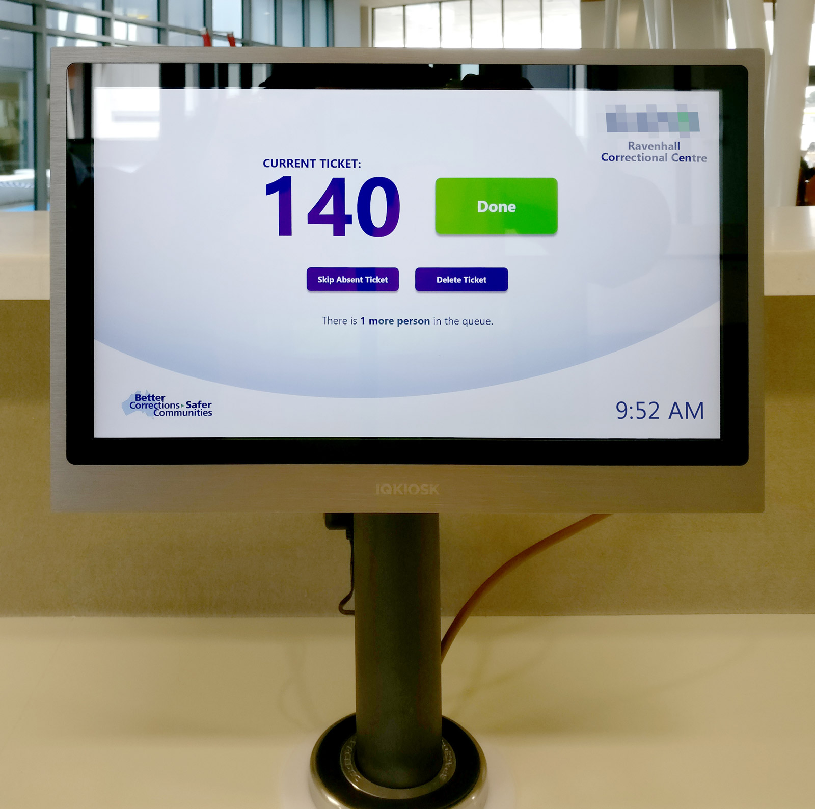 The service desk terminal is a securely-mounted 13-inch touch-screen, allowing staff to manage tickets in the queue. Photo courtesy Pro AV Solutions.