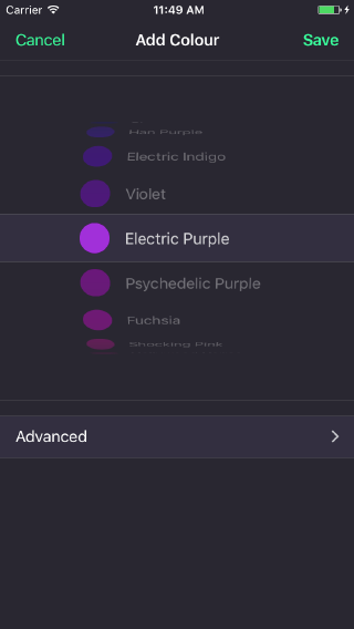 The iOS colour picker is a simple scrolling picker; a familiar interface element on the platform